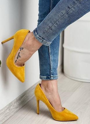 Рр 36-40.яркие  женские жëлтые туфли лодочки на высоком каблуке