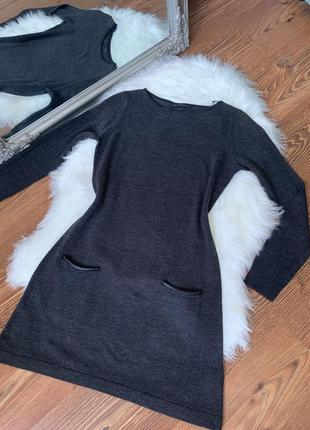 Короткое тёплое платье с длинным рукавом на невысокую девушку от m&s