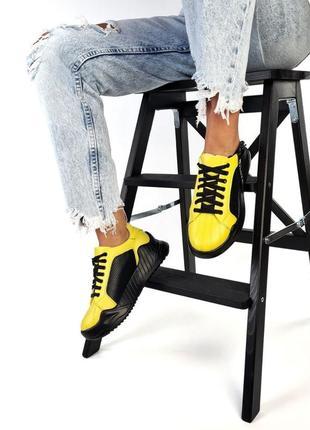 Рр 36-40. чёрные желтые кроссовки из натуральной кожи