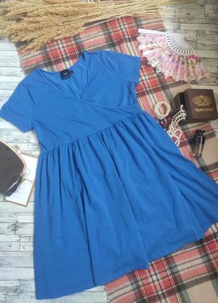 Платье миди большого размера для беременных синее с коротким рукавом большого размера хлопок размер xxl asos