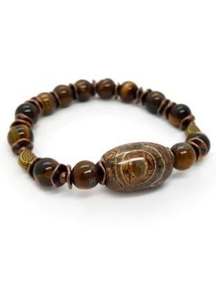 🐯💛 браслет-амулет в восточном стиле с бусиной дзи натуральные камни: тигровый глаз, агат
