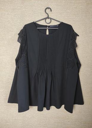 Черная блуза блузка туника батал с кружевом и складками