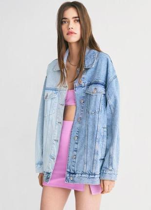 Джинсовая куртка, джинсовка, джинсовая куртка колорблок, длинная джинсовка
