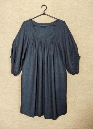 Свободное темно-серое платье сукня туника с пышными формами