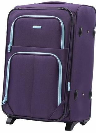 Чемодан дорожный (дорожная сумка) тканевый на 2 колёсах средний 214 m wings ( фиолетовый / purple )