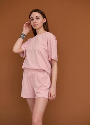 Костюм шорты футболка розовый / костюмчик рожевий