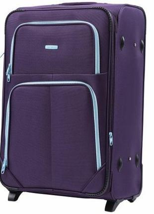 Чемодан дорожный (дорожная сумка) тканевый на 2 колёсах большой 214 l wings ( фиолетовый / purple )