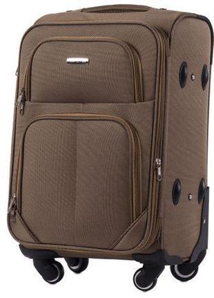 Чемодан дорожный (дорожная сумка) тканевый на 4 колёсах маленький 214 s wings (коричневый / coffee)