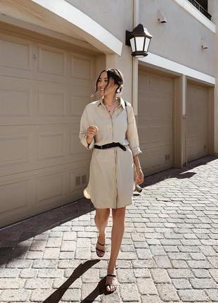 Платье-рубашка шелковый лён от uniqlo япония