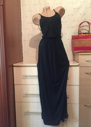 Длинный чёрный сарафан на резинке на бретельках / платье