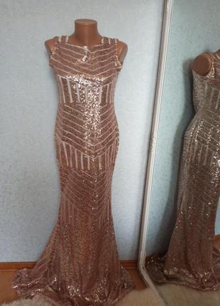 Платье вечернее пайетка золотое шикарное свадебное выпускное