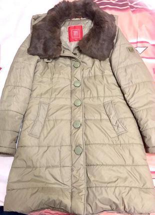 Пальто tiffi с натуральным мехом