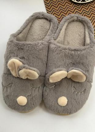 Домашние тапочки зайчики с ушками мягкий подарок на любой праздник (домашняя обувь)