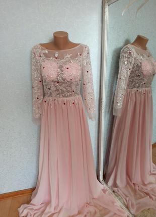Шикарное розовое вечернее свадебное выпускное платье