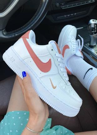 ❤ женские белые кожаные кроссовки  nike air force 1 mini swoosh  ❤