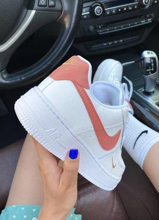 ❤ женские белые кожаные кроссовки  nike air force 1 mini swoosh  ❤6 фото