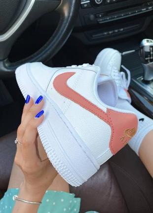 ❤ женские белые кожаные кроссовки  nike air force 1 mini swoosh  ❤9 фото