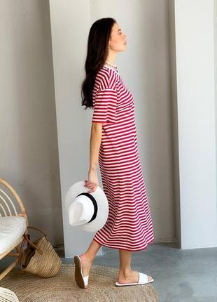 Длинное прямое платье в полоску / летнее платье макси хлопковое
