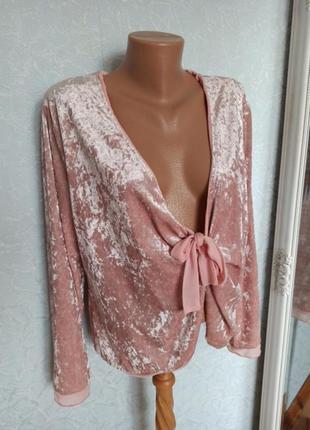 Пиджак батал бархатный велбровый розовый шикарный