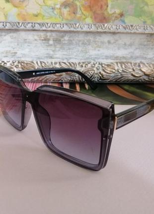Стильные крупные солнцезащитные очки квадраты цвет графит