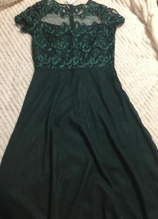 Вечернее платье благородного изумрудного цвета р50