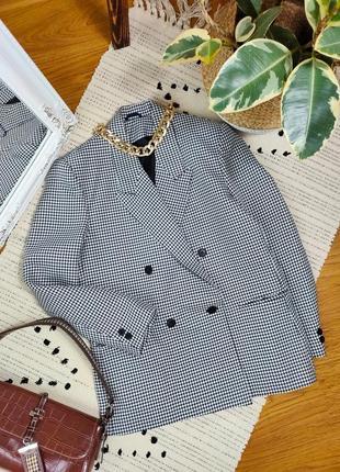 Пиджак двубортный прямого кроя в гусиную лапку
