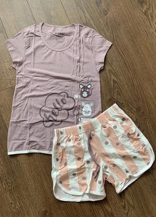 Пижама женская с шортами хлопок турция, піжама жіноча з шортами бавовна