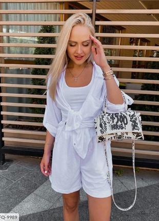 Костюм тройка рубашка топ и шорты удлиненные свободные белый легкий летний