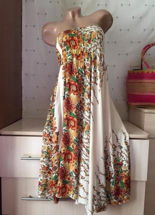 Красивый сарафан без бретелей / платье на резинке