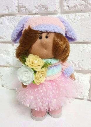 Яркая кукла декоративная текстильная маня авторская куколка