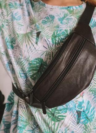 Бананка натуральная кожа! слинг, сумка на пояс, черно коричневая сумочка шкіра натуральна замша б12