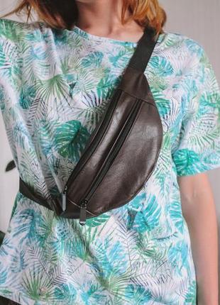 Бананка натуральная кожа! слинг, сумка на пояс, коричневая сумочка шкіра натуральна замша б11