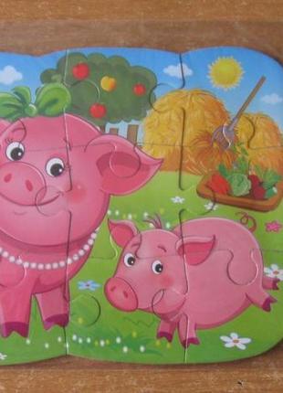 Пазл магнитный с крупными деталями. свинки. 12 деталей.  магнітний пазл свинки.