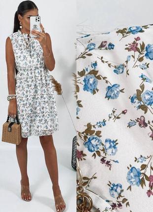 Воздушное платье в цветочный принт, выполненное из легкой шифоновой ткани