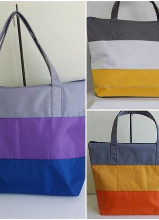 Сумки пляжные городские хозяйственные женские серые с цветными вставками на молнии