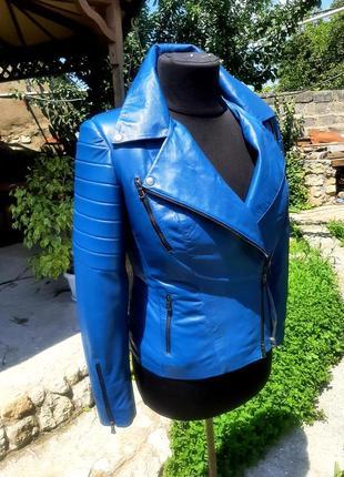 Куртка из натуральной кожи  цвет электрик
