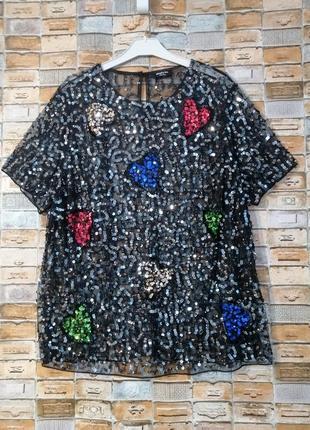 Прозрачная блуза с паетками