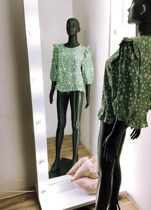 Классная фисташковая вискозная блуза рукава буфы цветочный принт 💚