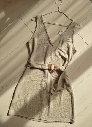 Женское летние платья, без рукава на поясе