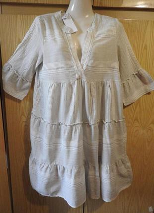 Vero moda белое платье в ярусы хлопок геометрический принт р м новое с бумажной биркой
