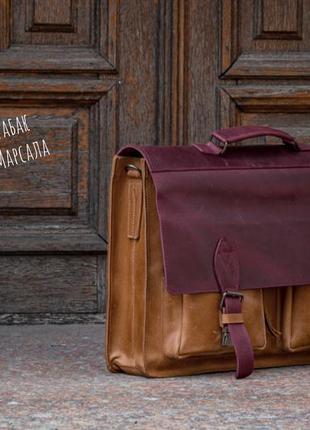 Мужской портфель, кожаная деловая сумка для ноутбука