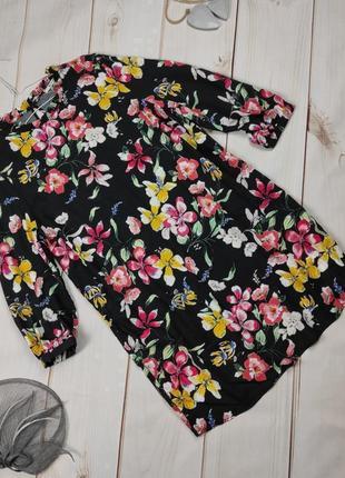 Платье мини натуральное цветочное свободного кроя tu uk 14/42/l
