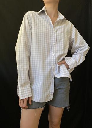 Котоновая рубашка в клетку, базовая рубашка с длинным рукавом