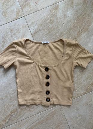 Кроп топ футболка zara с пуговками
