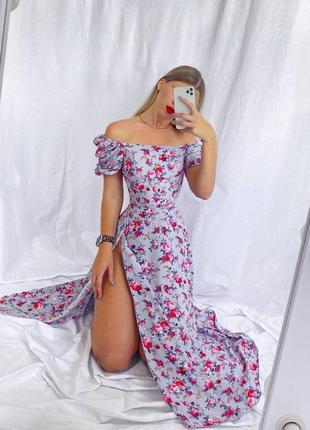 Платье миди с разрезом на бедре с открытыми плечами