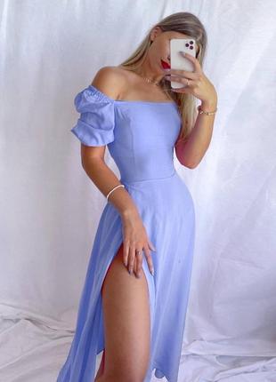Платье миди с разрезом на бедре голубое розовое зеленое лиловое малиновое