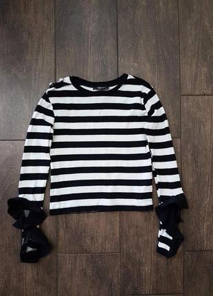 Стильный укороченный хлопковый джемпер zara с оборками свитер топ