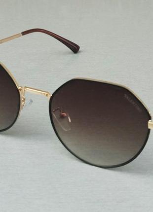 Valentino очки модные женские солнцезащитные коричневый градиент в металлической оправе