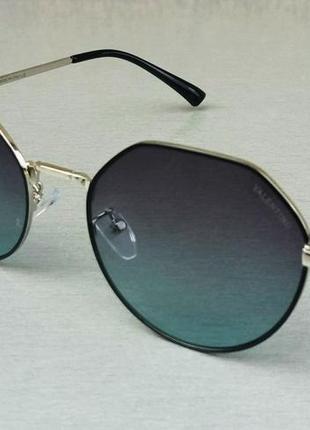 Valentino стильные женские солнцезащитные очки сине серый градиент в черно серой металлической оправе