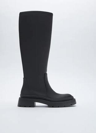 Черные резиновые сапоги zara ботинки, новые! чоботи